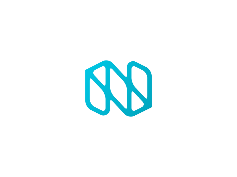 N lettermark line branding geometry illustration mark logo texture slick letter n monogram minimal modern gradient frame technology
