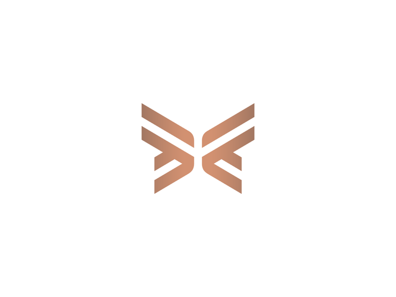 Butterfly visual identity branding illustration geometry icon mark minimal logo luxury elegant modern simple flying insect wings stripes