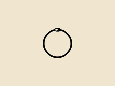 Ouroboros visual identity symbol branding icon mark logo minimal magic mythology ring tail head circle snake geometry simple