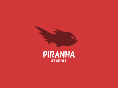 Piranha brand icon mark logo blood jungle water amazon animal teeth 3d deadly movement dynamic lowpoly fish red gaming game