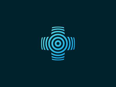 Pulse visual identity branding illustration geometry icon mark minimal logo signal app plus circle radial healthcare health medicine cross