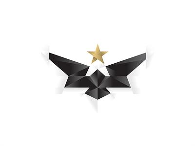 Eagle visual identity branding geometry illustration mark minimal logo bird hawk sky protection monolith polygon 3d low poly gold star freedom wings