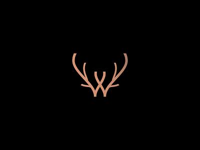 Wild line illustration branding mark logo minimalist nature lettering monogram outdoors animal moose letter w deer antlers