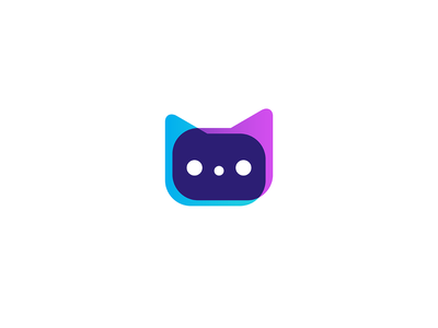 Cat Chat branding geometry logo mark icon technology cat abstract minimalist message comunication app dots text bubble chat