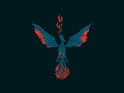PyFi Phoenix Concept visual identity sharp ascend rise flying dark abstract heraldry animal design branding wings gritty bird fire mythical mark logo illustration