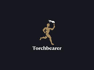 Torchbearer visual identity branding figure human abstract gold minimal mark logo strength night dark olympics torch sport body fire light running man