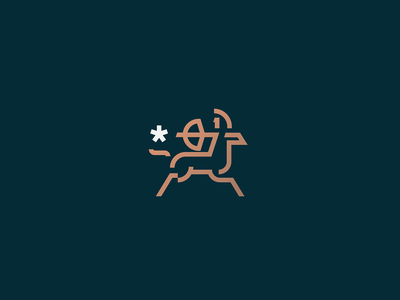Centaur vector illustration design branding icon mark logo simple bow arrow star horse lineart line minimal minimalist mythology geometry abstract