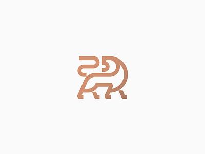 Lion modern strong gold copper animal cat roar line lineart bold elegant luxury branding geometry icon minimal mark logo