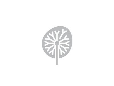 Dandelion visual identity branding geometry icon minimal mark logo nature green fall spirng plant flower