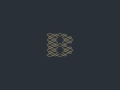 B monogram zigzag geometry pattern knitting thread b monogram