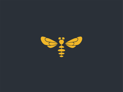 A Bee flying honey logo wings insect bee