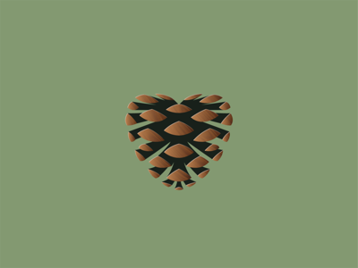 Pinecone Heart icon logo tree love nature heart pinecone