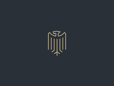 Eagle heraldry minimal line shield crest eagle
