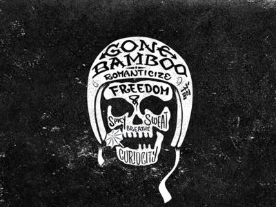 Gone Bamboo expat exotic freedom travel broken teeth bike helmet skeleton bones head skull