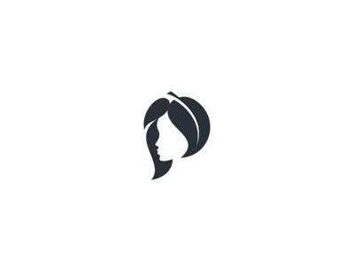 Organic Girl logo icon health leaf face space negative green girl organic