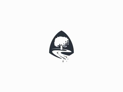 Oak Creek mark logo icon negativespace water waterfall stream tree creek oak