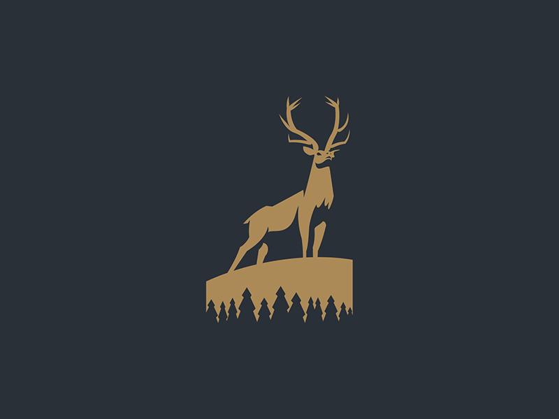 Elk business stag animal mark icon logo negativespace adventure pines freedom deer elk