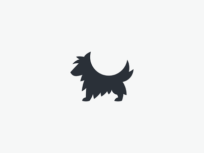 A Dog business mark logo minimal simple furry silhouette animal dog
