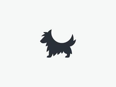 A Dog business mark logo minimal simple furry silhouette animal dog