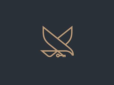 Eagle  wings business logo minimal key line lineart bird fly eagle