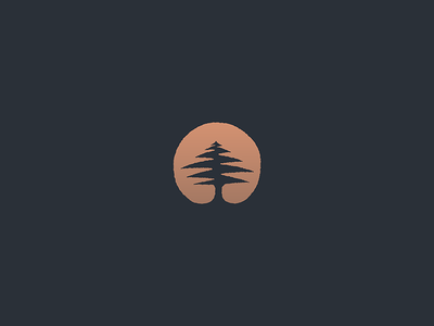 Pine circle tree cedar sunset negativespace pine minimal icon mark logo