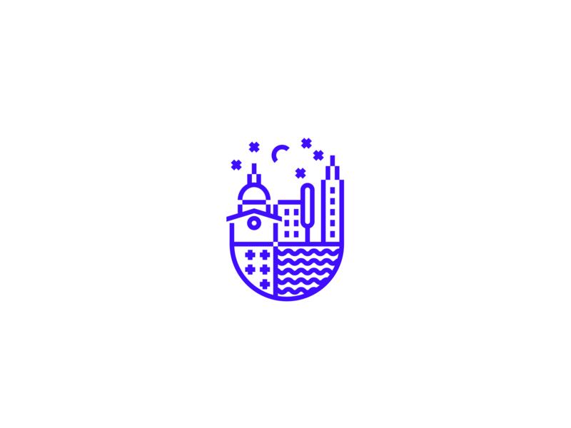 Venice sky church sea bulidings town lineart illustration italy modernheraldry heraldry geometry minimal icon mark logo