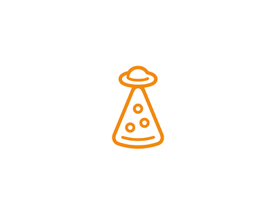 Abduction slice food flying saucer alien ufo pizza design icon line minimal mark logo