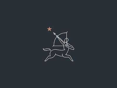 Centaur precise aim runner star bow arrow man horse centaur icon geometry illustration lineart line mark logo