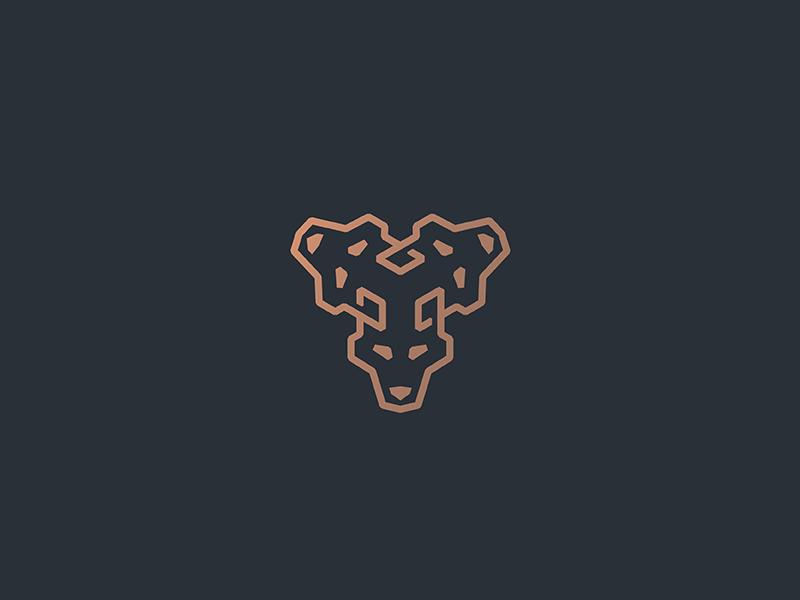 Cerberus heads three loyalty protect mythology greek underworld dog wolf design lineart geometry line animal minimal mark logo