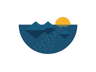 Sunset ocean sea waves archipelago islands sun illustration geometry minimal
