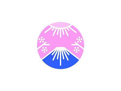 Fuji mount geometry minimal line blossom cherry sakura far east sun mountain japan
