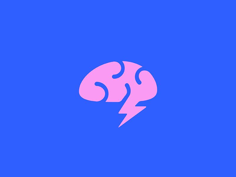 Brainstorm abstact creativity brain thunderbolt lightning design vector branding illustration icon mark minimal logo