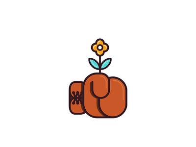 Kill Them With Kindness plant boxing giving good nice flower gloves geometry branding design illustration minimal
