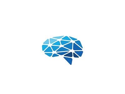 Neural network nodes learning connected intelligence ai brainstorm brain branding illustration design geometry icon mark minimal logo