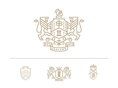 John Spencer shoes branding needle stiches castle tower floral helmet coat of arms shield typography heraldry lineart animal illustration design geometry minimal logo branding