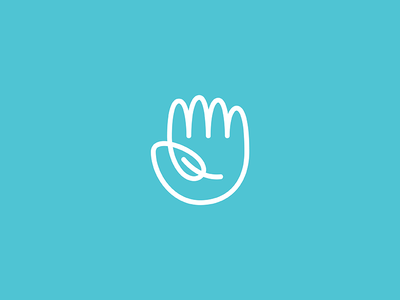 Hello Nature technology sustainable health green leaf hand line lineart geometry icon mark minimal logo branding