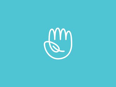 Hello Nature technology sustainable health green leaf hand line lineart geometry icon mark minimal logo branding
