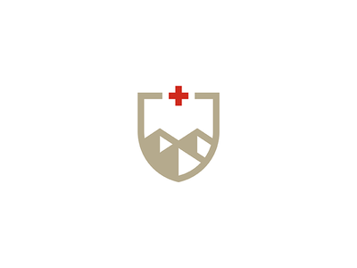 Swiss Alps summit peak mountains red cross switzerland coat of arms shield icon illustration lineart geometry mark minimal logo branding