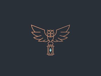 Owl lamp knowledge wild night flying lantern spark ligth wings bird lineart animal line geometry icon mark illustration logo branding