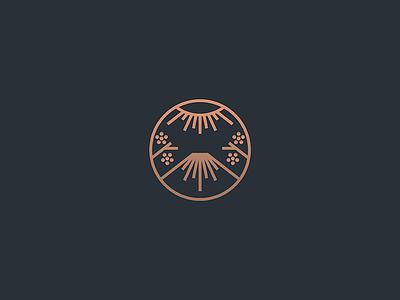 Fuji seal badge east sun blossom cherry sakura japan lineart geometry animal line design illustration minimal mark icon branding logo