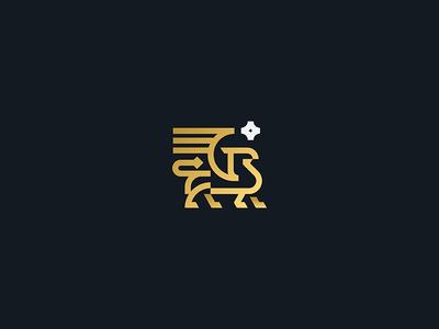Griffin snake eagle lion chimera gryphon creature mythology gold star modern heraldry wings animal line design vector icon mark branding logo