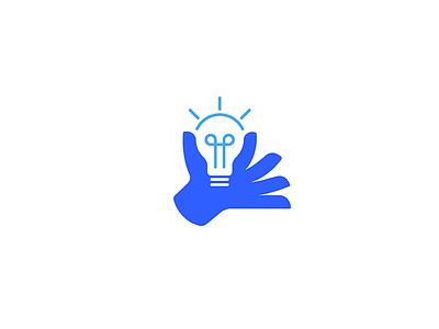 Idea giving negative space eureka modern gift hand bulb light app technology vector line design illustration geometry icon mark minimal branding logo