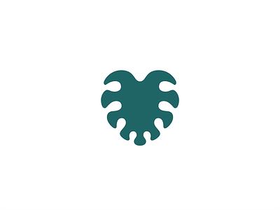 Monstera Heart plant wild icon mark design geometry love work office green nature leaf branding illustration minimal logo