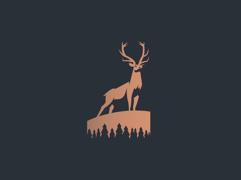Elk minimalist abstract trees antlers deer pine north wild nature woods negativespace animal branding illustration minimal logo