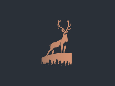 Elk minimalist abstract trees antlers deer pine north wild nature woods negativespace animal branding illustration minimal logo