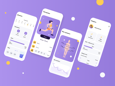 Fitness app fitness vector app illustration ui minimal ux design