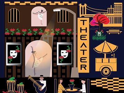 Love Theater vector illustration