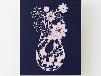 Floral Bird illustration illustration design vase blue pink birds flowers