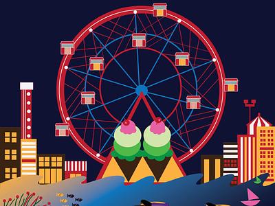 Ferris Wheel icecream vector art amusement park fun ferris wheel illustraton coneyisland brooklyn