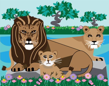 Lion and Lioness artwork vector illustration vector art illustration art grass lions animals